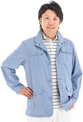 メンズ 綿混 サファリジャケット サマージャケット 多機能ポケット付き スタンド衿 ハーフコート 敬老の日 ギフト や 誕生日 プレゼント としても 最適 トラベルジャケット