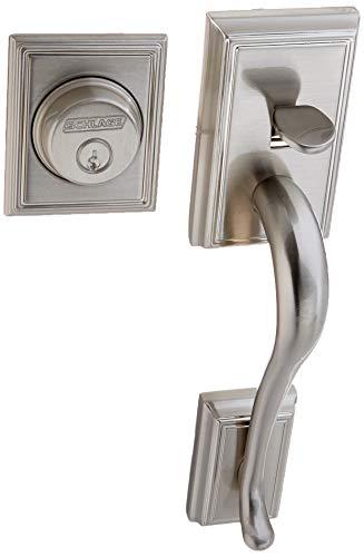 Schlage F92-ADD Addison Dummy Exterior Handleset from The F-Series, Satin Nickel