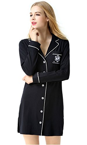Svuencio Womens Long Sleeve Pajamas Button Down Sleepshirt Comfortable Nightshirt Cotton Sleepwear