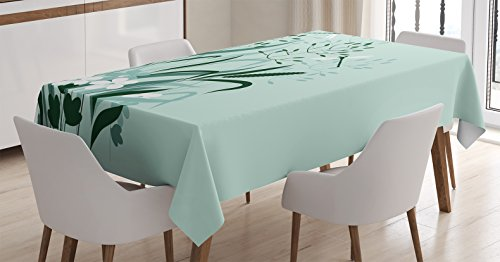 Country Decor Tablecloth by Ambesonne, Wild Grass and Dragonflies in Exquisitely Growing Lawn Idyllic Herb Bush Rural Pattern, Rectangular Table Cover for Dining Room Kitchen, 60x84 Inch, Light Green