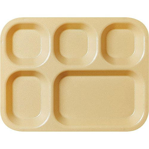 Cambro 5-Compartment Co-Polymer Cafeteria Trays, 24PK Tan 14105CP-161 (Cafeteria Tan Tray)