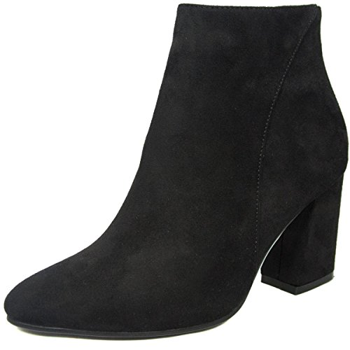 Stacked BETANI Toe Black Chunky Women's Ankle Pointed Bootie Heel POOqtxr