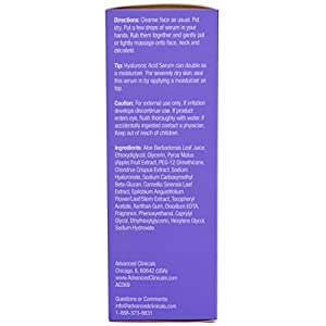 Advanced Clinicals Hyaluronic Acid Face Serum. Anti-aging Face Serum- Instant Skin Hydrator, Plump Fine Lines, Wrinkle Reduction. 1.7 Fl Oz.