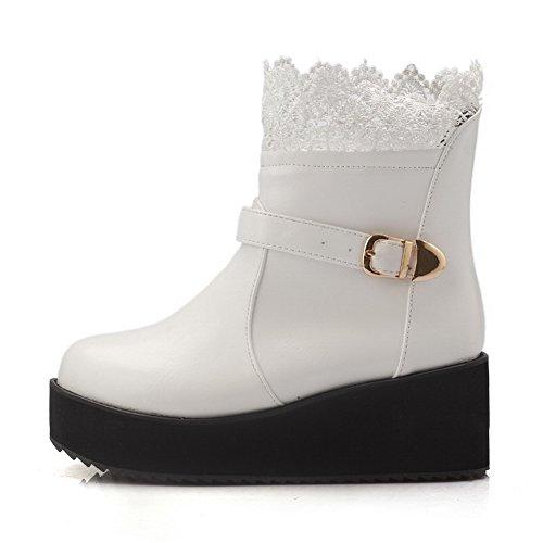 VogueZone009 Damen Ziehen auf Mittler Absatz PU Leder Rein Mitte-Spitze Stiefel Weiß