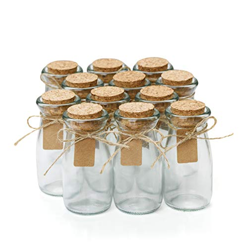 Glass Favor Jars With Cork Lids - Mason Jar Wedding Favors - Apothecary Jars Milk Bottles With Personalized Label Tags and String - 3.4oz [12pc Bulk Set] Ideal For Spices, Candy and Candle Making -