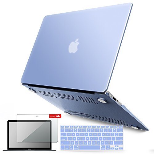 iBenzer MacBook Air 13 Inch Case, Soft Touch Hard Case Shell Cover Keyboard Cover Screen Protector Apple MacBook Air 13 A1369 1466, Serenity Blue, MMA1301SRL+2