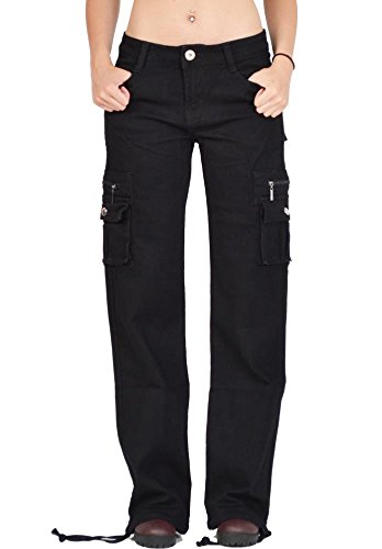 omen's Wide Leg Cargo Pants Combat Trousers - Black US8/UK10 (Flap Pocket Wide Leg Jeans)