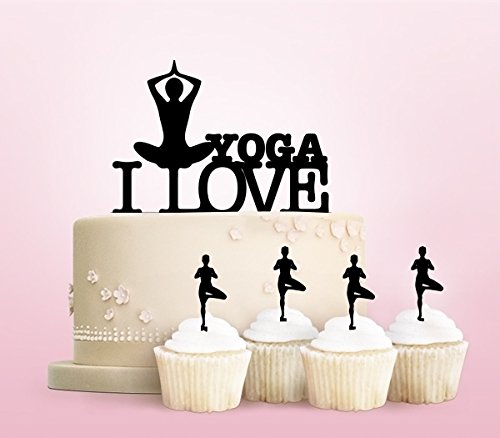 TC0153 I Love Yoga Party Wedding Birthday Acrylic Cake Topper Cupcake Toppers Decor Set 11 pcs