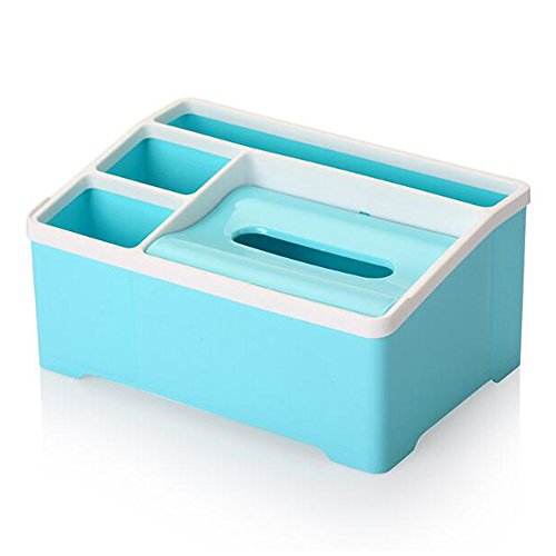 Gycinda Multifunctional Plastic Tissue Box Remote Control Holder, Office Desk Organizer, Home Countertop Sundries Storage Box (Large, Blue)