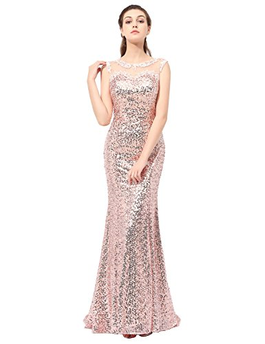 Sarahbridal Seniors Prom Dresses Long 2018 Sequin Bridesmaid Ball Gowns Rose Gold US6