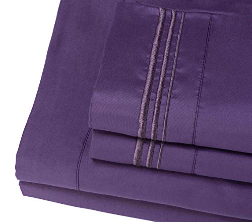 Bed Sheet Set (Queen, Purple), 100% Double Brushed Softest 4pcs 1800 Microfiber Hypoallergenic Bedding Set, Wrinkle, Fade, Stain Resistant, by Duck & Goose CO.
