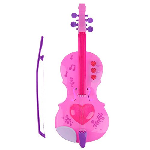 GreenSun TM Pink 4 Strings Music Toy Violin Plastic Electric LED Light Flashing with Music Sound Violin Musical Instruments Educational Toy ()