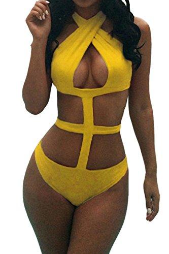 Viottis Women's Bandage Criss Cross One Piece Monokini Swimsuit Yellow XL