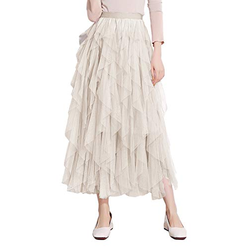 Itemnew Women's Tulle Elastic Waist Ruffle Porm Party Layered Mesh Long Skirt (One Size, Apricot)