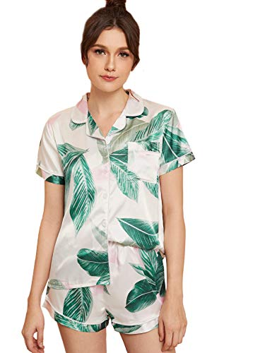 Floerns Women's Notch Collar Palm Leaf Print Sleepwear Two Piece Pajama Set Multi-2 L ()