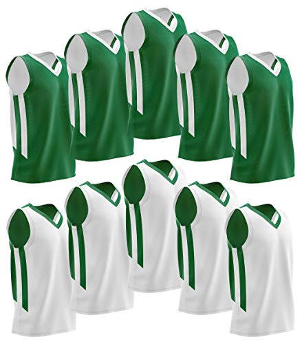 Vest Basketball Lightweight - Liberty Imports 10 Pack - Reversible Men's Mesh Performance Athletic Basketball Jerseys - Adult Team Sports Bulk (Green/White)