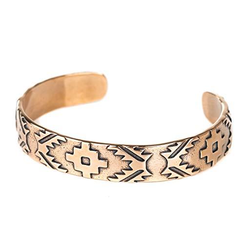 Turquoise Skies TSKIES Navajo Rug Pattern Cuff Bracelet Ancient Bronze Native American Indian ()