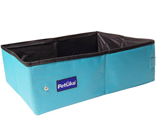 PetLike15.7x11.8x5 Inches Portable Cat Litter Box, Collapsible Pet Toilet for Puppy and Kitty Cat, Light Weight Cat Litter Tray for Travel, Drive and Emergency, Protective Cat Bed. (Aqua)