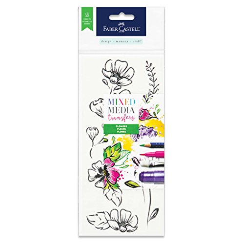Faber-Castell Mixed Media Transfers - 20 Hand Illustrated Rub-On Transfer Designs (Flowers) ()