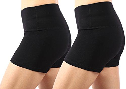 Neonysweets Womens Workout Shorts Running Yoga Short Pants 2 Pack Black L