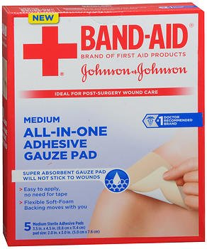 Band-Aid All-in-One Adhesive Gauze Pads Medium - 5 ct, Pack of 6 by Band-Aid