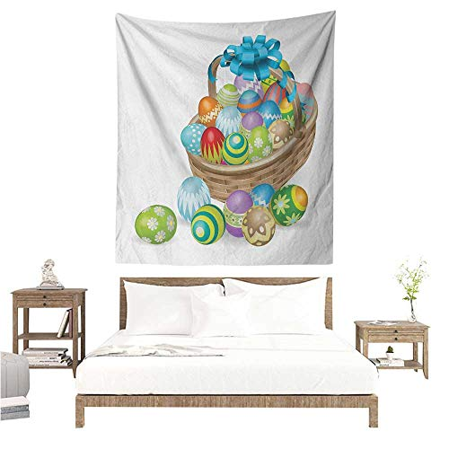 Easter DIY Tapestry Basket of Colorful Ornamental Eggs with a Blue Ribbon Spring Season Easter Holiday Literary Small Fresh 57W x 74L INCH ()