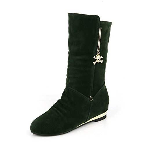 Boots AmoonyFashion Plush 5 Short with Kitten Charms B Womens Green Closed Suede US Toe M Heels Imitated Solid Round gzgPrq