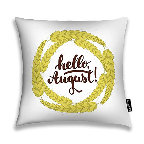 Randell Throw Pillow Covers Hello August Wheat Ears Home Decorative Throw Pillowcases Couch Cases 26