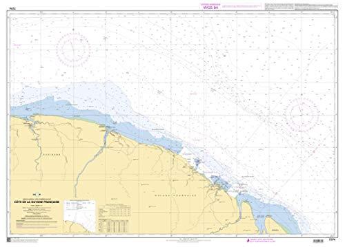 SHOM Chart 7374: Cote de la Guyane Francaise, 33 x 47 inches, Premiere Bond Paper