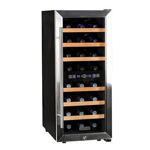 : Koldfront 24 Bottle Free Standing Dual Zone Wine Cooler - Black and Stainless Steel
