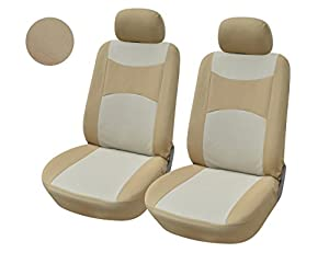 116003 tan fabric 2 front car seat covers compatible to ford fusion mustang taurus. Black Bedroom Furniture Sets. Home Design Ideas
