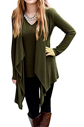 Chvity Women's Solid Long Sleeve Open Front Waterfall Draped Cardigans (S, Army Green)
