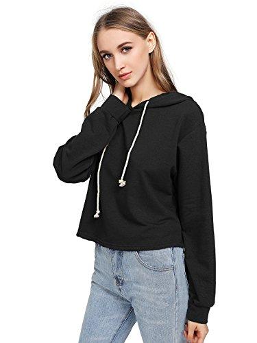 MAKEMECHIC Women's Casual Long Sleeve Pullover Hoodies Crop Tops Sweatshirt
