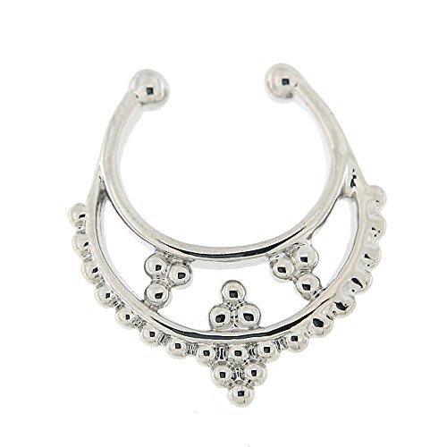 Tribal Multi Dot Design pavé 14 Gauge (1,6 MM) inox 316L chirurgical Non Piercing faux Clip sur Septum - nez Septum anneau d'acier