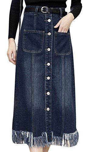 Femmes t Grande Taille Slim Fit Taille Haute Denim Jupe Avec Ceinture Bleu