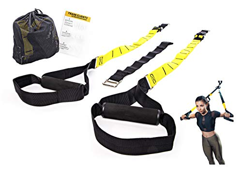 Cheap Active Athletic Basics Suspension Trainer Resistance Straps Kit – Full Body Workout Straps with Travel Bag & Exercise Guide
