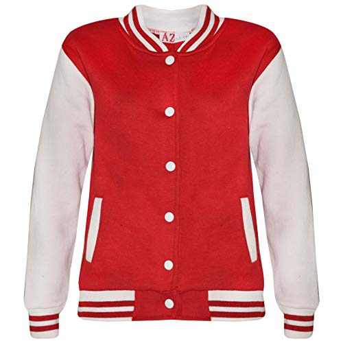(Kids Girls Boys Baseball Jacket Varsity Style Plain School Jackets TOP 5-13 Year Red)