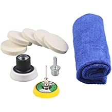 "PROMMON 2""(50mm) Felt Buff Polishing Pad,Microfibre Towel 5/8""-11 Thread Drill Adapter Scratch Remover Glass Polishing Set Electric Drill Dremel Rotary Tools Pack 10Pcs"