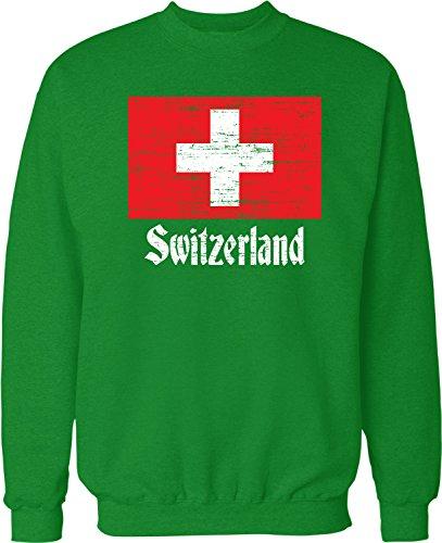 NOFO Clothing Co Flag of Switzerland, Swiss Flag, Schweizer Crew Neck Sweatshirt, XL Kelly