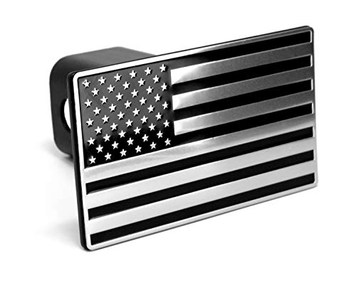 LFPartS USA US American Flag Black & Chrome Metal Trailer Hitch Cover Fits 2