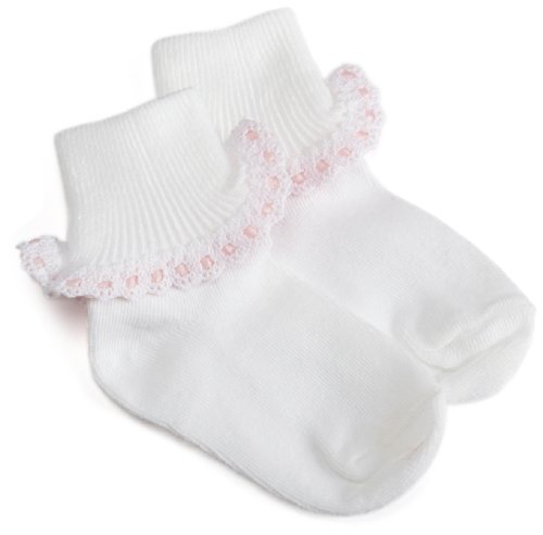 - Jefferies Socks Cluny And Satin Lace Sock White/Pink, 1-3 Months