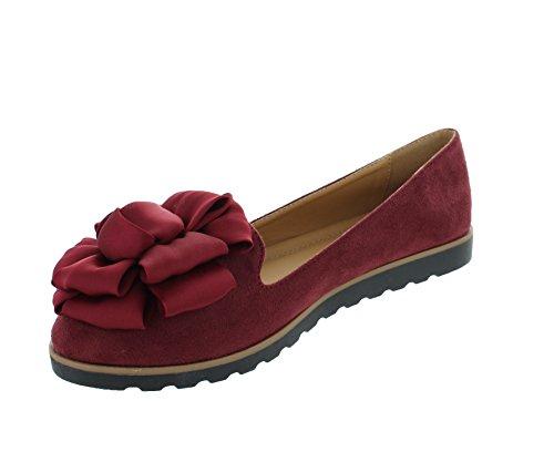Urban Heels Womens Faux Suede Ballet Ballerina Flat Slip On Comfy Boat Dress Shoes Wine FHbO1eIS