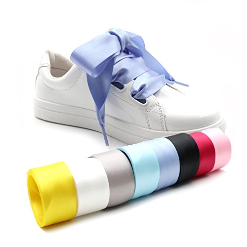 - COOL LACE Satin Ribbon Shoelaces Flat Shoe Laces for Sneakers (37.4