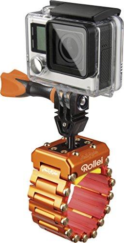 Rollei Actioncam Halterung Hell Rider - professionelle Motorrad-Halterung für alle GoPro kompatiblen Actioncams (Spannbereich: 24-42 mm), aus eloxiertem Aluminium, inkl. Integrierter Dämpfung - Orange