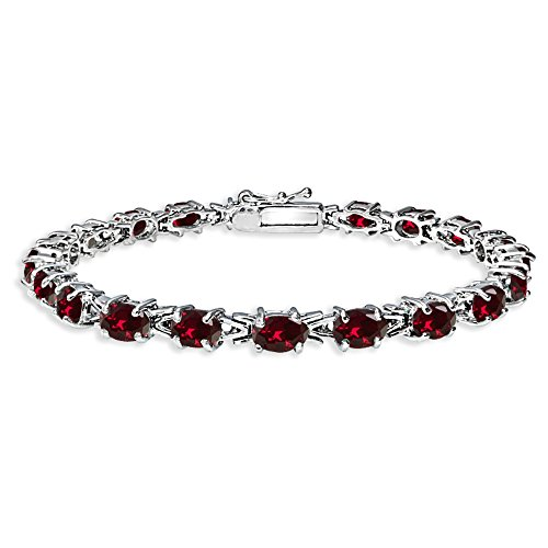 - Sterling Silver Polished Created Ruby 6x4mm Oval-cut Link Tennis Bracelet