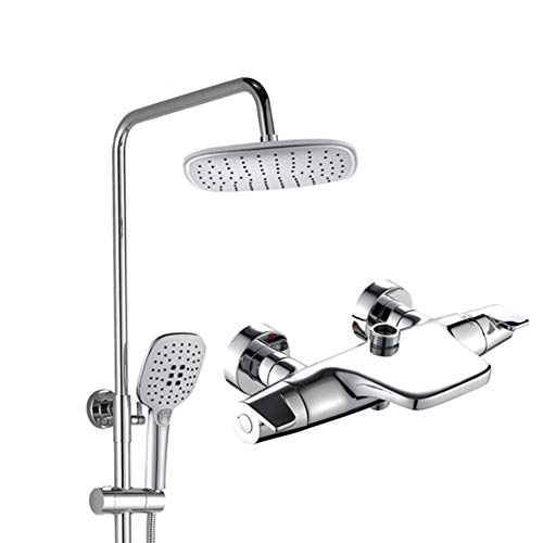 - Luxury Thermostatic Mixer Square Shower Head Bath Brass Valve Heart, Adjustable Height Exposed Riser Rail Shower Bar Hose All-in-One Chrome Rainfall Shower Mixer Set