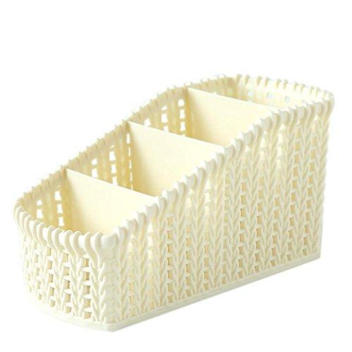 (SUJING Desk Organizer Desktop Plastic Storage Box Debris Accessory Organiser Case for Office Supplies and Accessories (Beige))