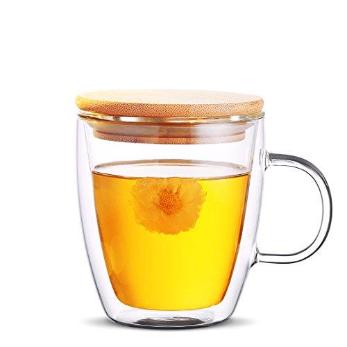 Awon GYBL089 Double-Wall Insulated Glass Espresso Mugs, Coffee Milk Tea Cups, Set of 2 (16 Oz)