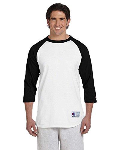 (Champion Men's Raglan Baseball T-Shirt, White/Black, Large)