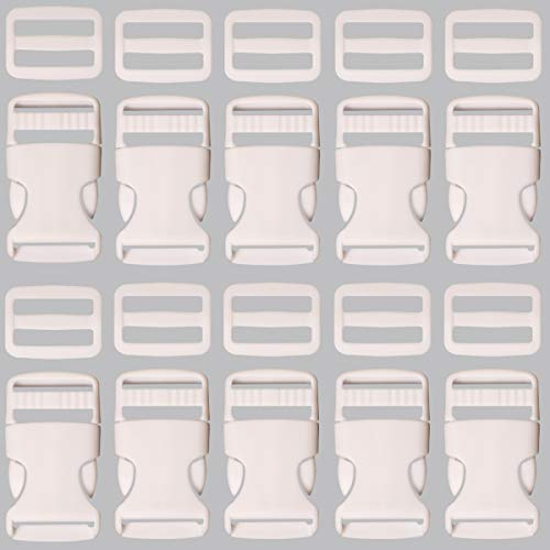 Plastic Buckle 1 Inch | Single Adjust Side Quick Release Replacement Clips with Slides for Dog Collars, Webbing Strap and Backpack Repair | White, 10 Sets ()